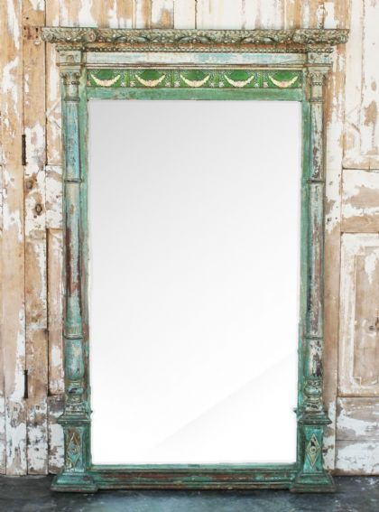 Antique Colonial Bevelled Mirror with Pillar Detail & Vintage Tiles <b>sold<b>